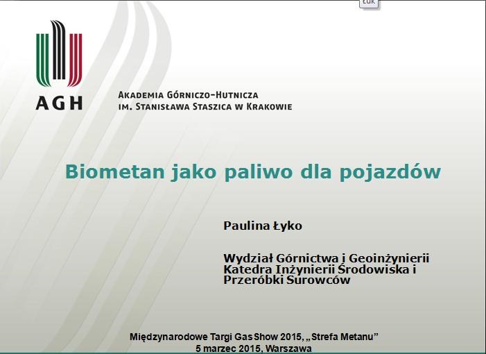Biometan jako paliwo dla pojazdów – Akademia Górniczo-Hutnicza im. Stanisława Staszica w Krakowie