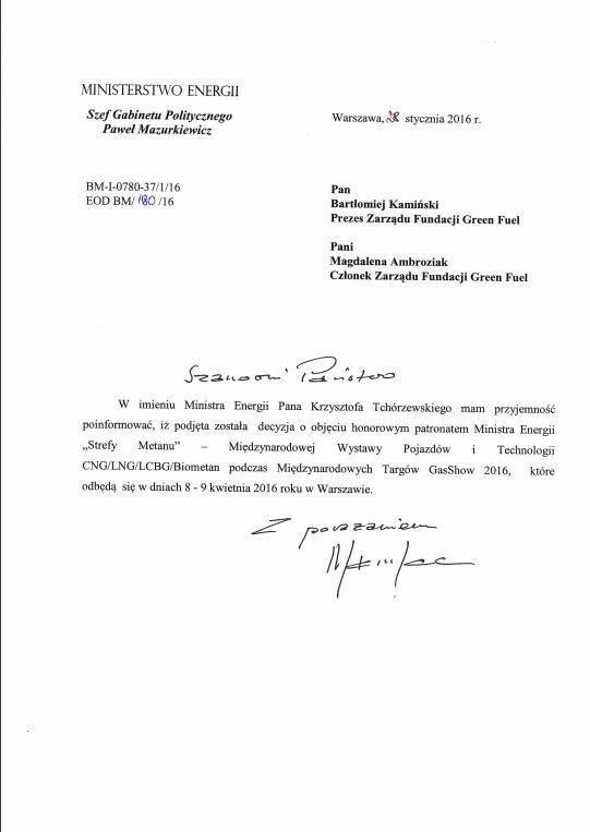 patronat ministerstwo energii